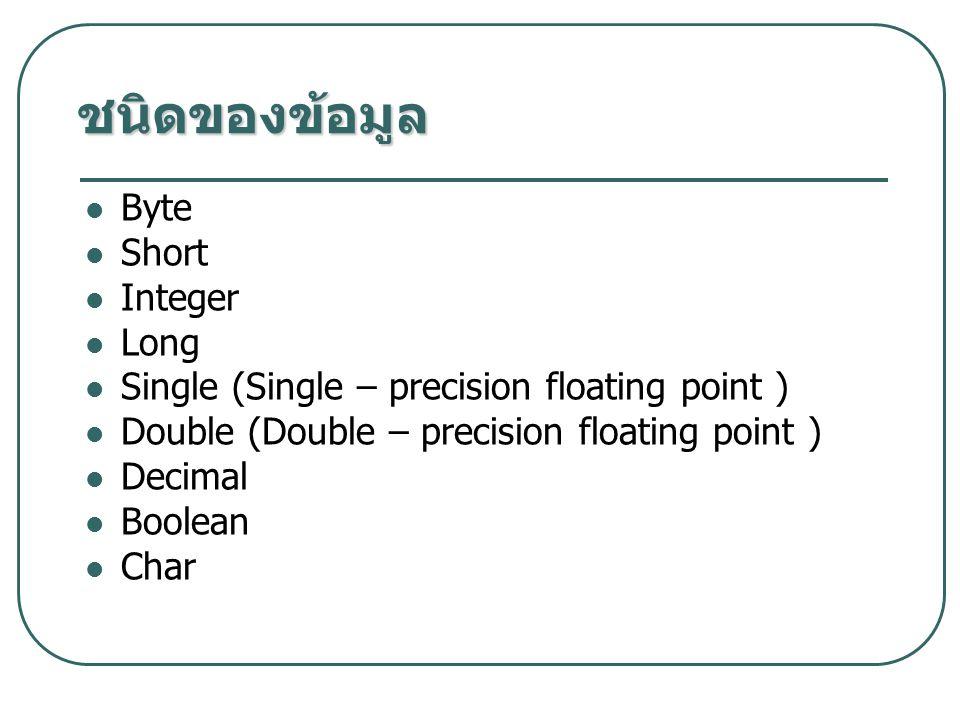 ชนิดของข้อมูล Byte Short Integer Long Single (Single – precision floating point ) Double (Double – precision floating point ) Decimal Boolean Char