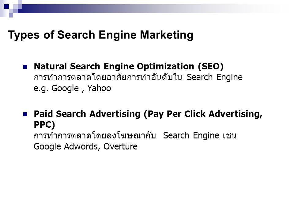 Advantage of Pay Per Click Search Engine จ่ายตามผลงาน ถ้าไม่มีลูกค้าเข้าเว็บไซต์ก็ไม่เสียเงิน (คุณจะจ่าย ค่าใช้จ่ายก็ต่อเมื่อคุณได้รับ click เท่านั้นซึ่งแตกต่างจาก Banner Ads) เห็นโฆษณาของตัวเองบน search engine ได้ทันที มีความหยืดหยุ่นในการจัดการบริหารโฆษณา สามารถจัดการ เปลี่ยนแปลงแก้ไขได้ตลอดเวลา ความสามารถในการปรับลดราคาอัตโนมัติ คุณสามารถเจาะเฉพาะกลุ่มลูกค้าเป้าหมายใน 225 ประเทศและ 65 ภาษา ไม่มีการกำหนดอัตราการจ่ายโฆษณาขั้นต่ำแต่ละเดือน มีเครื่องมือช่วยในการค้นคว้าหา keywords ที่เกี่ยวข้อง