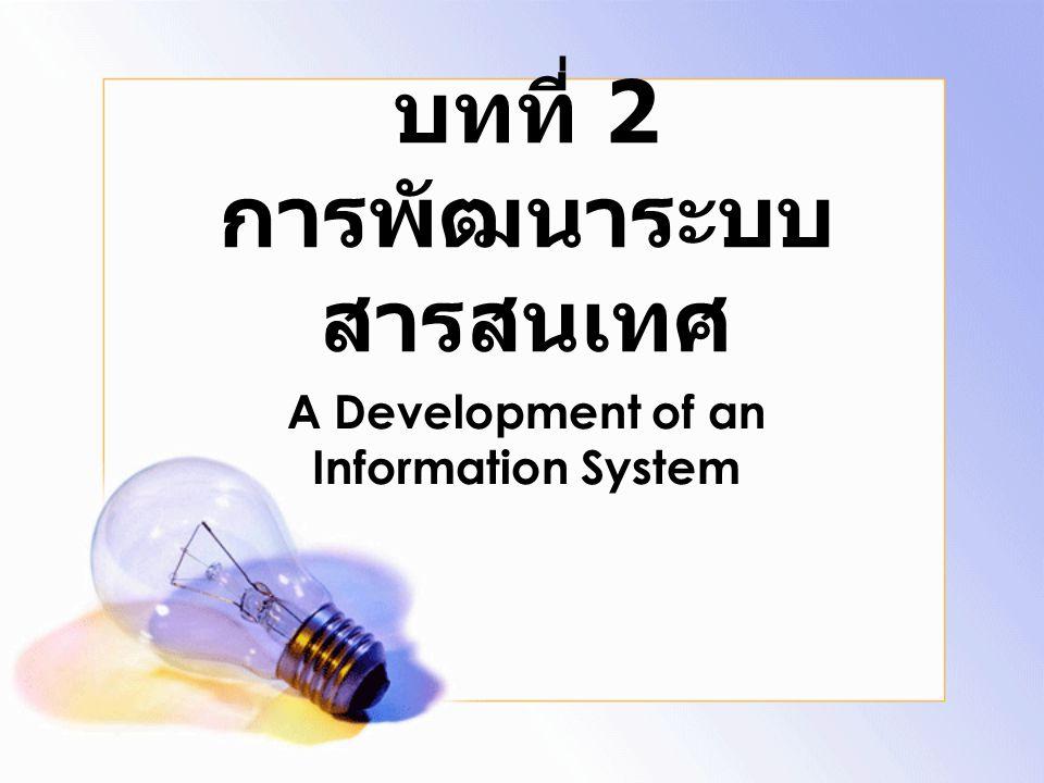 System Analysis ศึกษาขั้นตอนการทำงานของระบบเดิม กำหนดความต้องการในระบบใหม่จากผู้ใช้ ระบบ แบบจำลองระบบ จำลองขั้นตอนการทำงาน จำลองข้อมูลของระบบ