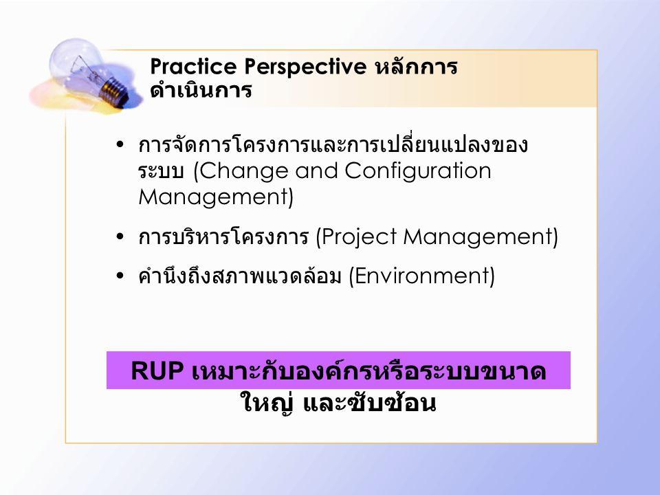 Practice Perspective หลักการ ดำเนินการ การจัดการโครงการและการเปลี่ยนแปลงของ ระบบ (Change and Configuration Management) การบริหารโครงการ (Project Manag