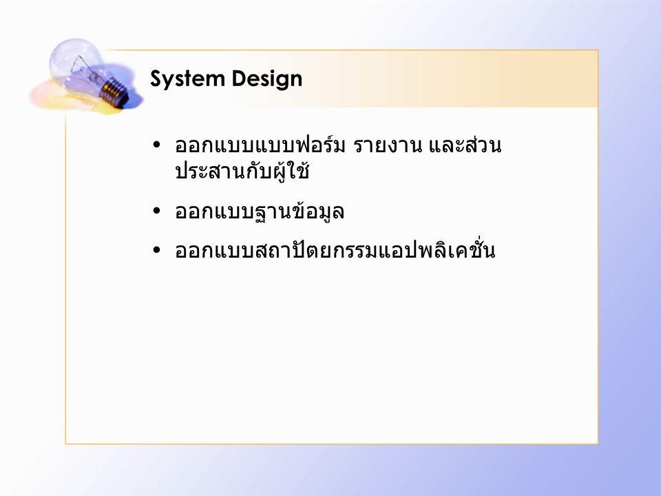 System Design ออกแบบแบบฟอร์ม รายงาน และส่วน ประสานกับผู้ใช้ ออกแบบฐานข้อมูล ออกแบบสถาปัตยกรรมแอปพลิเคชั่น