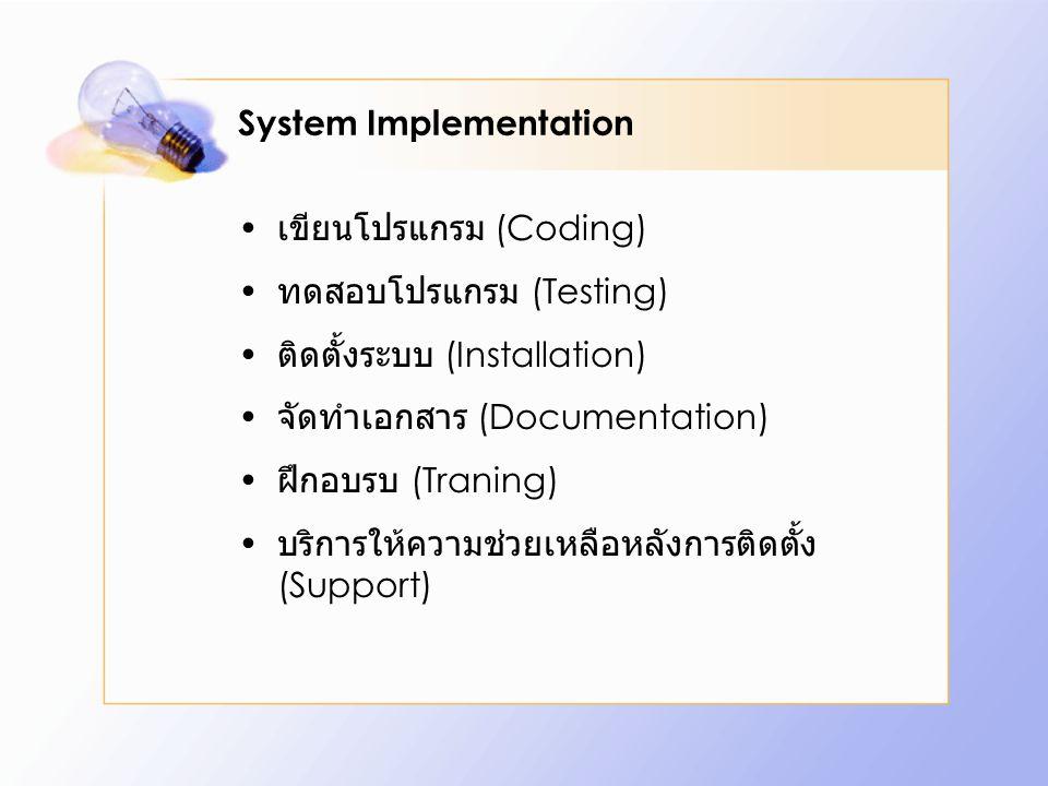System Implementation เขียนโปรแกรม (Coding) ทดสอบโปรแกรม (Testing) ติดตั้งระบบ (Installation) จัดทำเอกสาร (Documentation) ฝึกอบรบ (Traning) บริการให้ค