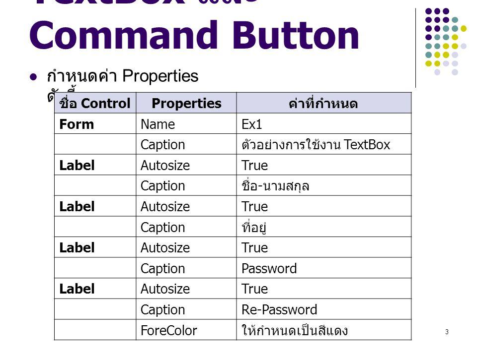 4 TextBox และ Command Button กำหนดค่า Properties ดังนี้ ชื่อ Contro l Properties ค่าที่กำหนด TextBoxNameTxtName Text ว่าง TextBoxNameTxtAdd MultiLineTrue Text ว่าง ScrollBars2 – Vertical TextBoxNameTxtPass Alignment1 – Right Justified MaxLength5 PasswordChar* Text ว่าง