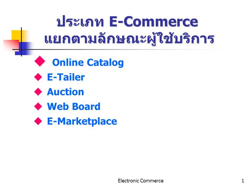 Electronic Commerce2 รายละเอียดของ E-Commerce แบบ Online Catalog   Online Catalog รูปแบบรายการสินค้าออนไลน์ แสดงรายการ สินค้าอย่างเดียว