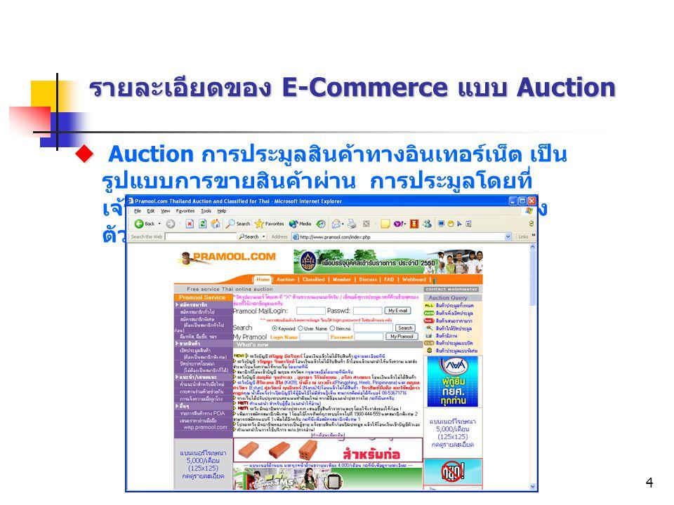 Electronic Commerce4 รายละเอียดของ E-Commerce แบบ Auction   Auction การประมูลสินค้าทางอินเทอร์เน็ต เป็น รูปแบบการขายสินค้าผ่าน การประมูลโดยที่ เจ้าข