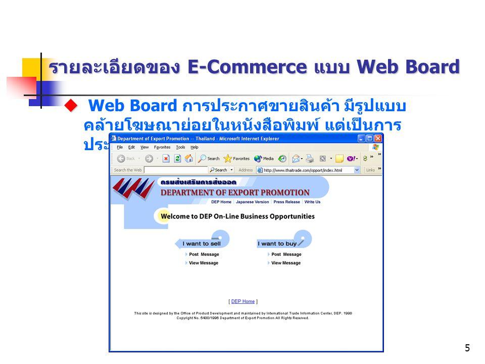 Electronic Commerce5 รายละเอียดของ E-Commerce แบบ Web Board   Web Board การประกาศขายสินค้า มีรูปแบบ คล้ายโฆษณาย่อยในหนังสือพิมพ์ แต่เป็นการ ประกาศใน