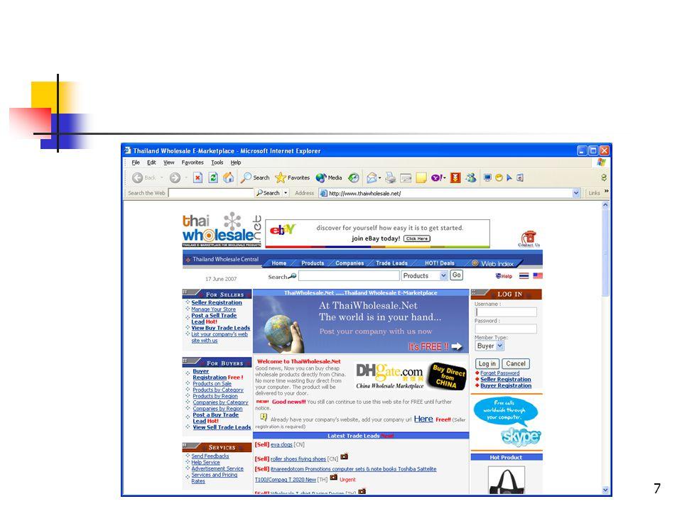 8 ค่าใช้ จ่าย ค่าใช้ จ่าย โอกาสทาง การตลาด ความเป็นอิสระ ความเสี่ยงจาก การทำธุรกรรม Online Catalo gue E - Tailer Auction Web Board E-Marketplace ปานกลาง ต่ำ สูง ต่ำ ต่ำ - ปานกลาง สูง ปานกลาง - สูง สูง ปานกลาง สูง ต่ำ ปานกลาง ไม่มี ต่ำ ต่ำ ต่ำ สูง สูง ต่ำ ต่ำ ประเด็นที่ควรพิจารณาจะเลือก รูปแบบของ E-Commerce
