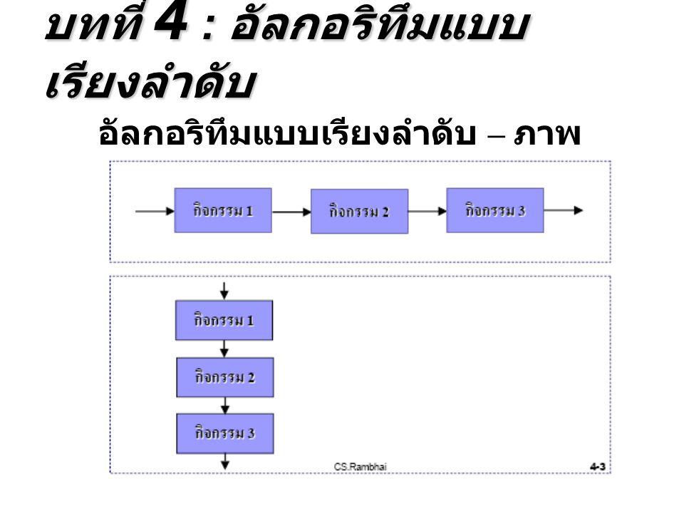 อัลกอริทึมแบบเรียงลำดับ – ภาพ แสดงอัลกอริทึมแบบลำดับ บทที่ 4 : อัลกอริทึมแบบ เรียงลำดับ
