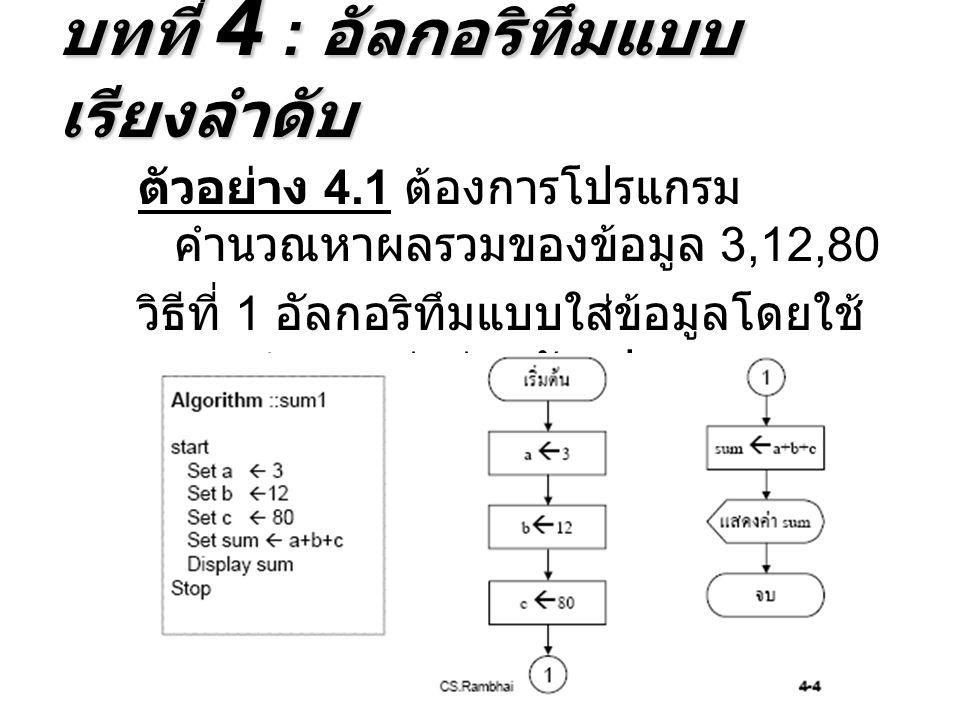 ตัวอย่าง 4.1 ต้องการโปรแกรม คำนวณหาผลรวมของข้อมูล 3,12,80 วิธีที่ 1 อัลกอริทึมแบบใส่ข้อมูลโดยใช้ การกำหนดค่าผ่านตัวแปร บทที่ 4 : อัลกอริทึมแบบ เรียงลำดับ