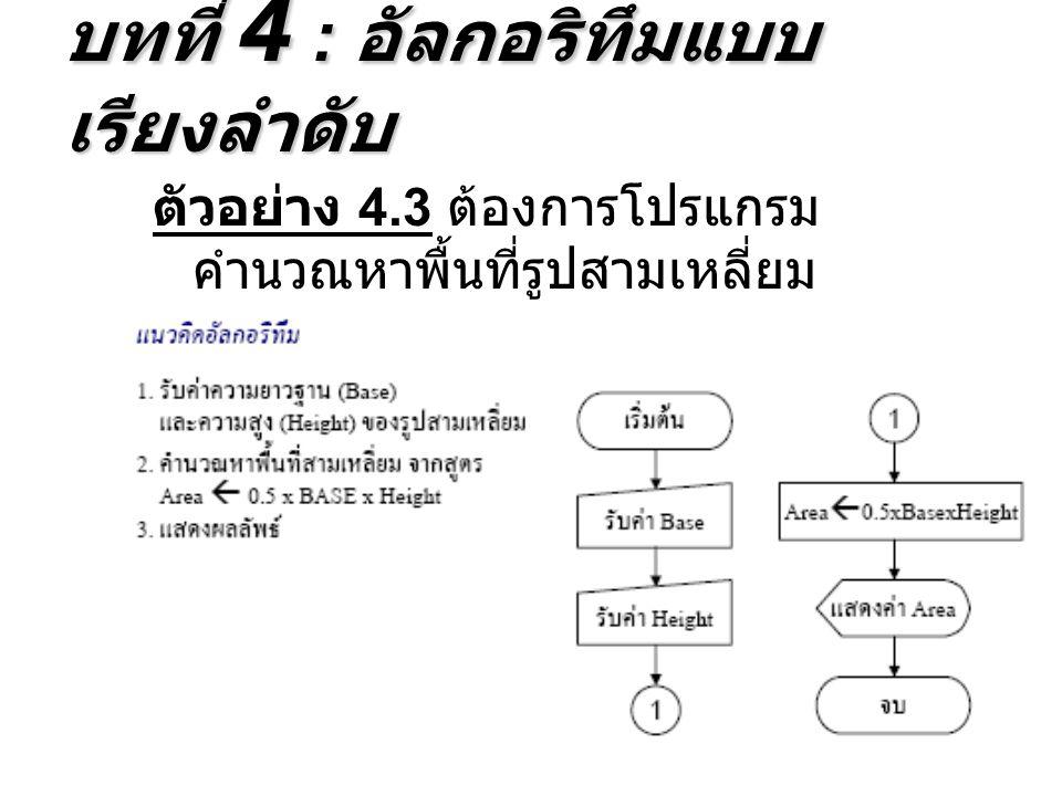 ตัวอย่าง 4.3 ต้องการโปรแกรม คำนวณหาพื้นที่รูปสามเหลี่ยม บทที่ 4 : อัลกอริทึมแบบ เรียงลำดับ
