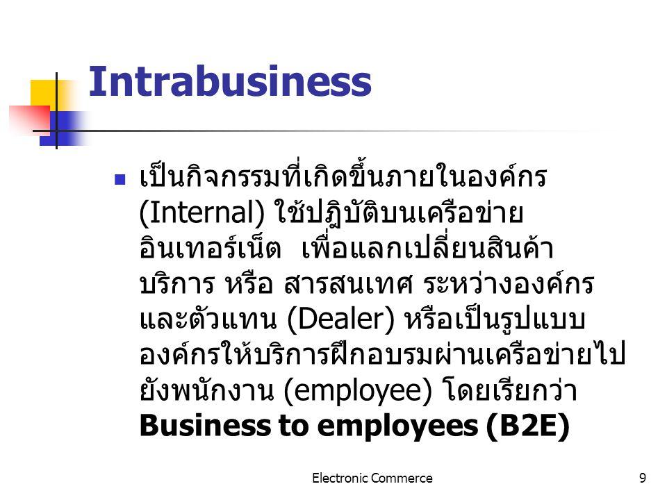 9 Intrabusiness เป็นกิจกรรมที่เกิดขึ้นภายในองค์กร (Internal) ใช้ปฎิบัติบนเครือข่าย อินเทอร์เน็ต เพื่อแลกเปลี่ยนสินค้า บริการ หรือ สารสนเทศ ระหว่างองค์
