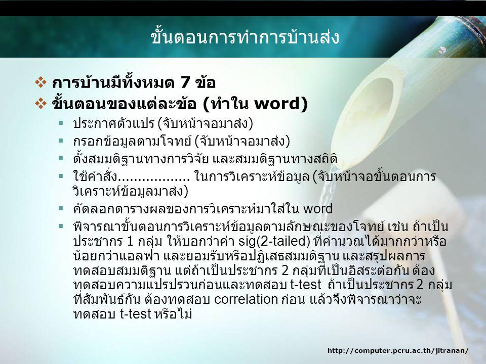 http://computer.pcru.ac.th/jitranan/ ขั้นตอนการทำการบ้านส่ง  การบ้านมีทั้งหมด 7 ข้อ  ขั้นตอนของแต่ละข้อ ( ทำใน word)  ประกาศตัวแปร ( จับหน้าจอมาส่ง )  กรอกข้อมูลตามโจทย์ ( จับหน้าจอมาส่ง )  ตั้งสมมติฐานทางการวิจัย และสมมติฐานทางสถิติ  ใช้คำสั่ง..................