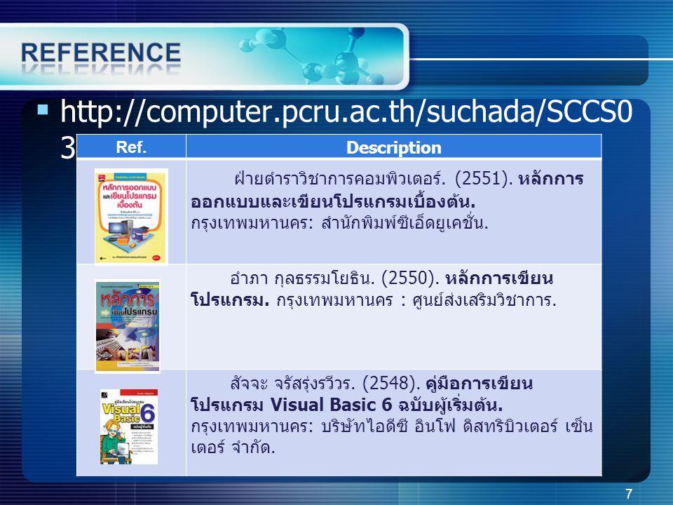  http://computer.pcru.ac.th/suchada/SCCS0 31_Algo.php Ref.Description ฝ่ายตำราวิชาการคอมพิวเตอร์.