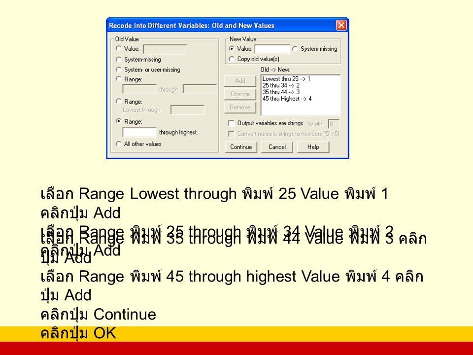เลือก Range Lowest through พิมพ์ 25 Value พิมพ์ 1 คลิกปุ่ม Add เลือก Range พิมพ์ 25 through พิมพ์ 34 Value พิมพ์ 2 คลิกปุ่ม Add เลือก Range พิมพ์ 35 through พิมพ์ 44 Value พิมพ์ 3 คลิก ปุ่ม Add เลือก Range พิมพ์ 45 through highest Value พิมพ์ 4 คลิก ปุ่ม Add คลิกปุ่ม Continue คลิกปุ่ม OK