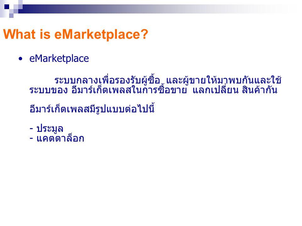 eMarketplace ระบบกลางเพื่อรองรับผู้ซื้อ และผู้ขายให้มาพบกันและใช้ ระบบของ อีมาร์เก็ตเพลสในการซื้อขาย แลกเปลี่ยน สินค้ากัน อีมาร์เก็ตเพลสมีรูปแบบต่อไปนี้ - ประมูล - แคตตาล็อก What is eMarketplace