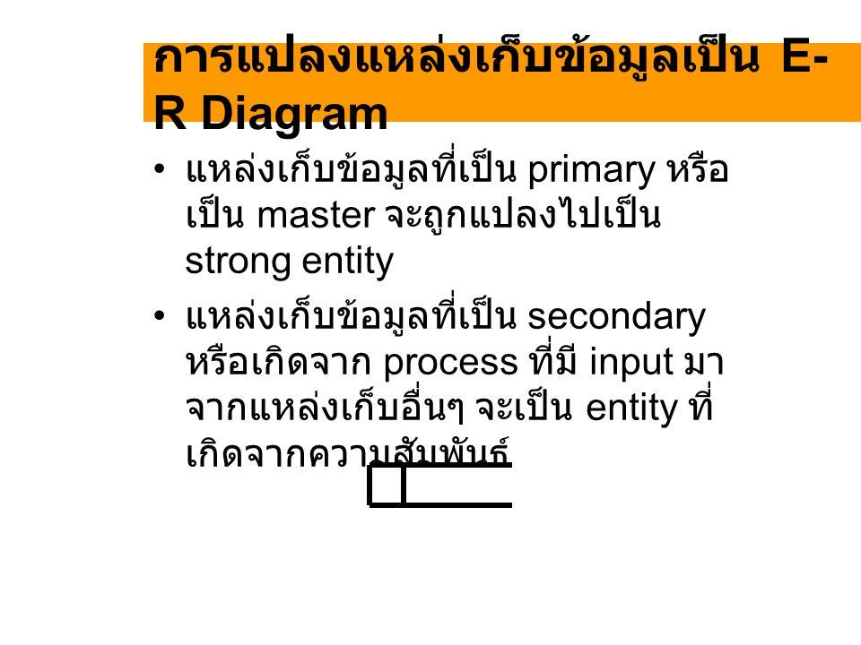 การแปลงแหล่งเก็บข้อมูลเป็น E- R Diagram แหล่งเก็บข้อมูลที่เป็น primary หรือ เป็น master จะถูกแปลงไปเป็น strong entity แหล่งเก็บข้อมูลที่เป็น secondary