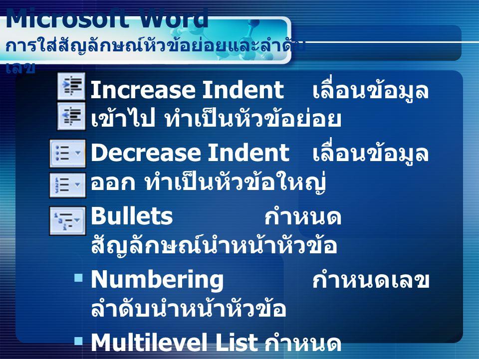  Increase Indent เลื่อนข้อมูล เข้าไป ทำเป็นหัวข้อย่อย  Decrease Indent เลื่อนข้อมูล ออก ทำเป็นหัวข้อใหญ่  Bullets กำหนด สัญลักษณ์นำหน้าหัวข้อ  Num
