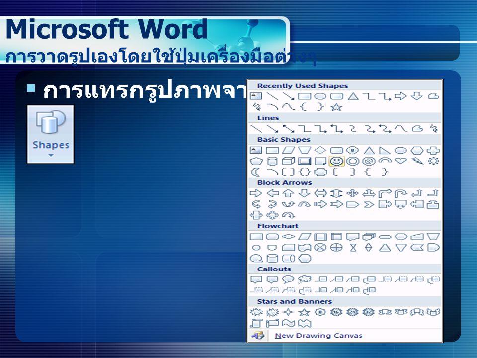  การแทรกรูปภาพจาก ClipArt Microsoft Word การวาดรูปเองโดยใช้ปุ่มเครื่องมือต่างๆ