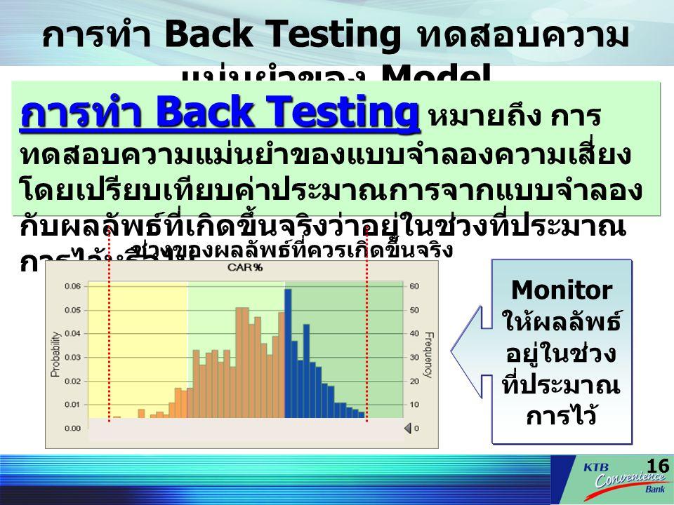 16 การทำ Back Testing ทดสอบความ แม่นยำของ Model การทำ Back Testing การทำ Back Testing หมายถึง การ ทดสอบความแม่นยำของแบบจำลองความเสี่ยง โดยเปรียบเทียบค