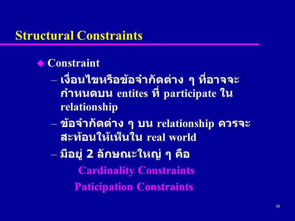 30 Structural Constraints u Constraint – เงื่อนไขหรือข้อจำกัดต่าง ๆ ที่อาจจะ กำหนดบน entites ที่ participate ใน relationship – ข้อจำกัดต่าง ๆ บน relationship ควรจะ สะท้อนให้เห็นใน real world – มีอยู่ 2 ลักษณะใหญ่ ๆ คือ Cardinality Constraints Paticipation Constraints