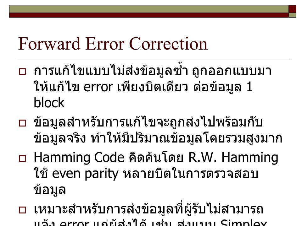 Forward Error Correction  การแก้ไขแบบไม่ส่งข้อมูลซ้ำ ถูกออกแบบมา ให้แก้ไข error เพียงบิตเดียว ต่อข้อมูล 1 block  ข้อมูลสำหรับการแก้ไขจะถูกส่งไปพร้อม