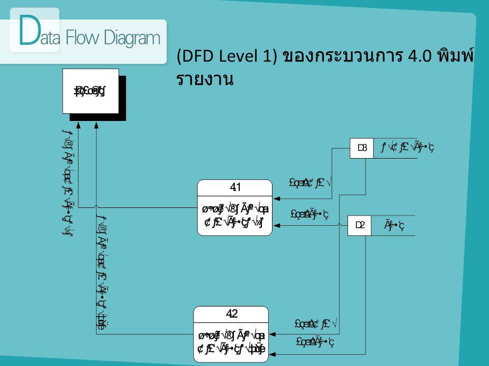(DFD Level 1) ของกระบวนการ 4.0 พิมพ์ รายงาน