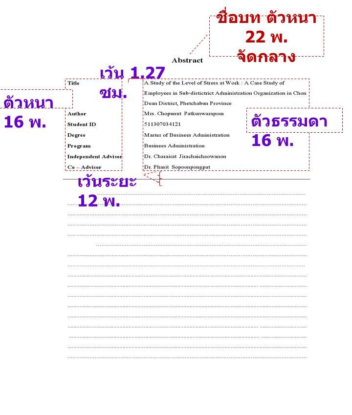 เว้น 1.27 ซม. ตัวหนา 16 พ. ตัวธรรมดา 16 พ. เว้นระยะ 12 พ. ชื่อบท ตัวหนา 22 พ. จัดกลาง