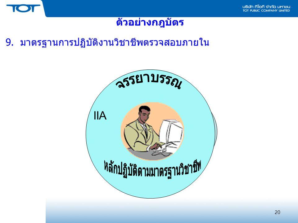 20 ตัวอย่างกฎบัตร 9. มาตรฐานการปฏิบัติงานวิชาชีพตรวจสอบภายใน IIA
