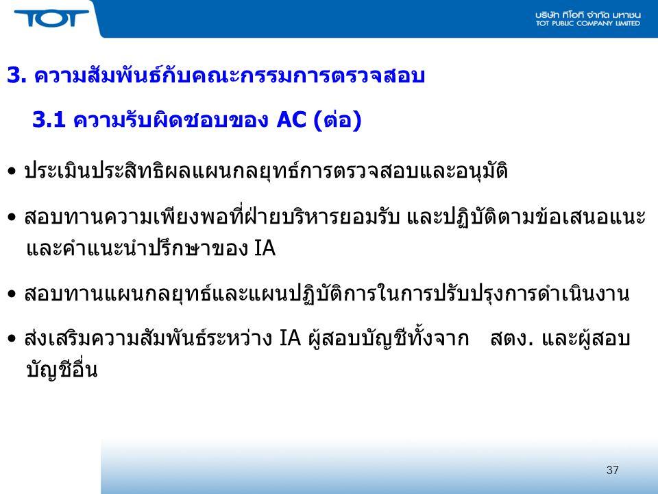 37 3. ความสัมพันธ์กับคณะกรรมการตรวจสอบ 3.1 ความรับผิดชอบของ AC (ต่อ) ประเมินประสิทธิผลแผนกลยุทธ์การตรวจสอบและอนุมัติ สอบทานความเพียงพอที่ฝ่ายบริหารยอม
