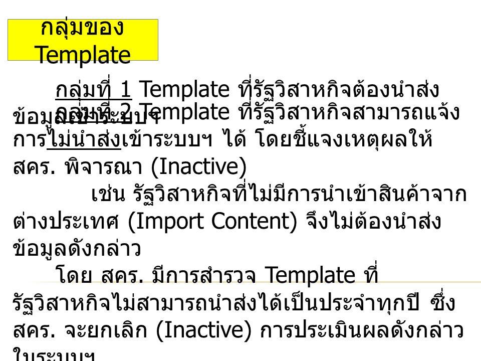 กลุ่มของ Template กลุ่มที่ 1 Template ที่รัฐวิสาหกิจต้องนำส่ง ข้อมูลเข้าระบบฯ กลุ่มที่ 2 Template ที่รัฐวิสาหกิจสามารถแจ้ง การไม่นำส่งเข้าระบบฯ ได้ โดยชี้แจงเหตุผลให้ สคร.