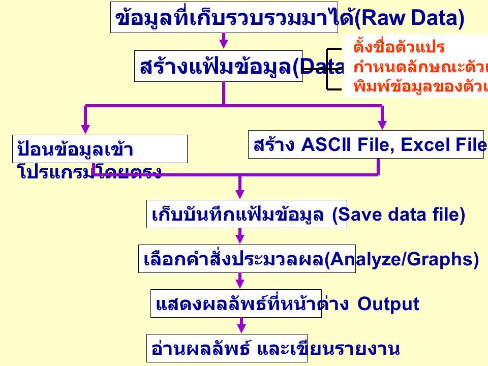 ข้อมูลที่เก็บรวบรวมมาได้ (Raw Data) สร้างแฟ้มข้อมูล (Data File) ป้อนข้อมูลเข้า โปรแกรมโดยตรง สร้าง ASCII File, Excel File, Database File เก็บบันทึกแฟ้