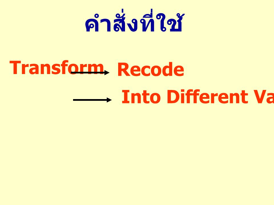 Transform Recode Into Different Variables... คำสั่งที่ใช้