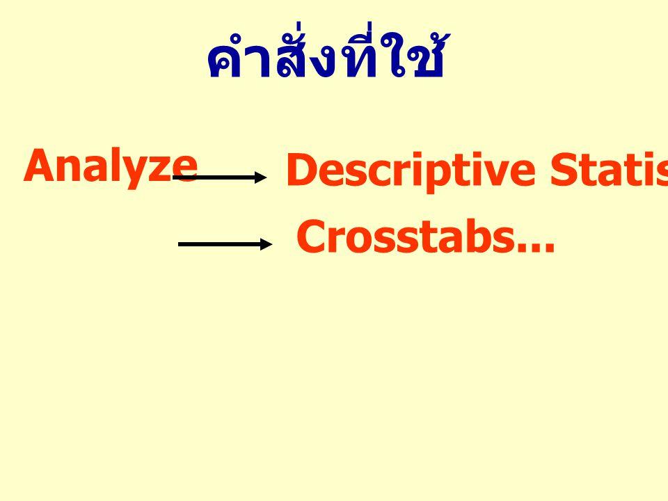 Analyze Descriptive Statistics Crosstabs... คำสั่งที่ใช้