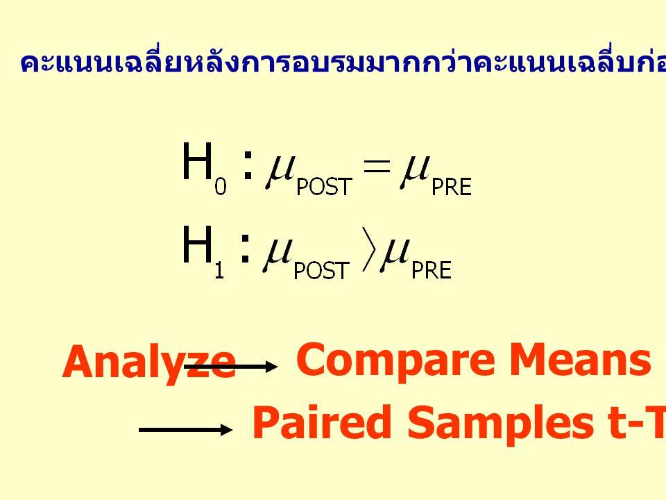 คะแนนเฉลี่ยหลังการอบรมมากกว่าคะแนนเฉลี่บก่อนการอบรมหรือไม่ Analyze Compare Means Paired Samples t-Test…