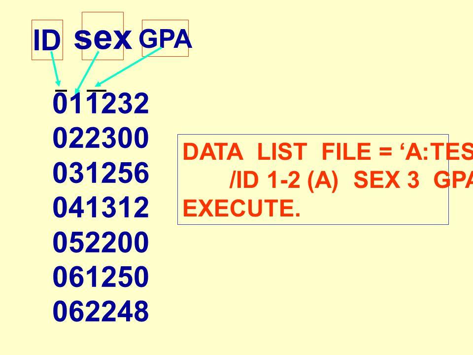 011232 022300 031256 041312 052200 061250 062248 ID sex GPA DATA LIST FILE = 'A:TEST3.DAT' /ID 1-2 (A) SEX 3 GPA 4-6(2). EXECUTE.