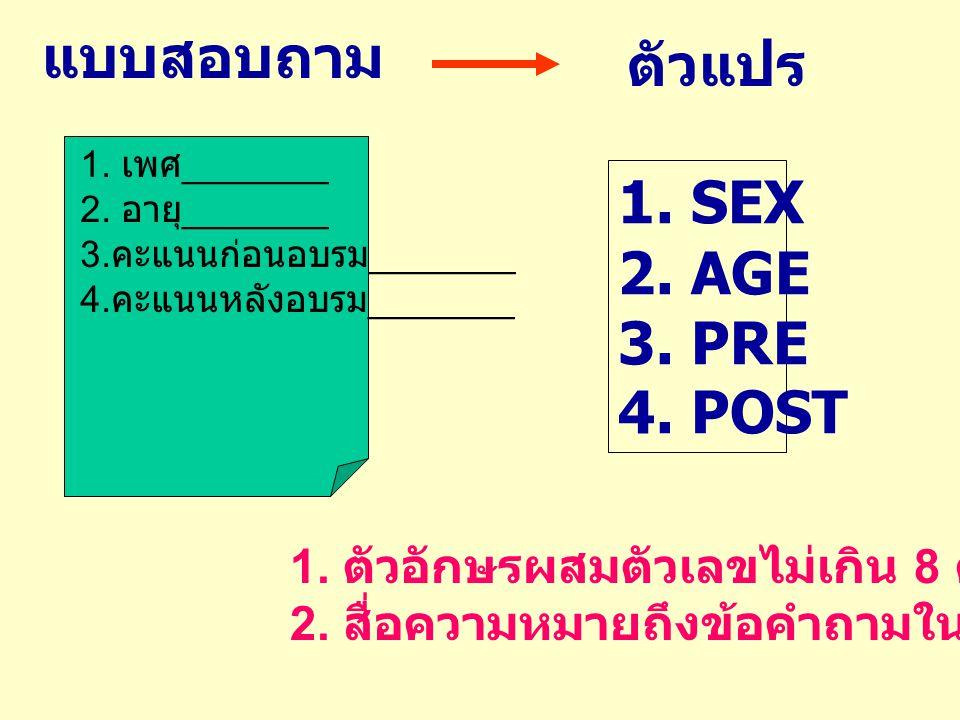 1. เพศ _______ 2. อายุ _______ 3. คะแนนก่อนอบรม _______ 4. คะแนนหลังอบรม _______ แบบสอบถาม ตัวแปร 1. SEX 2. AGE 3. PRE 4. POST 1. ตัวอักษรผสมตัวเลขไม่