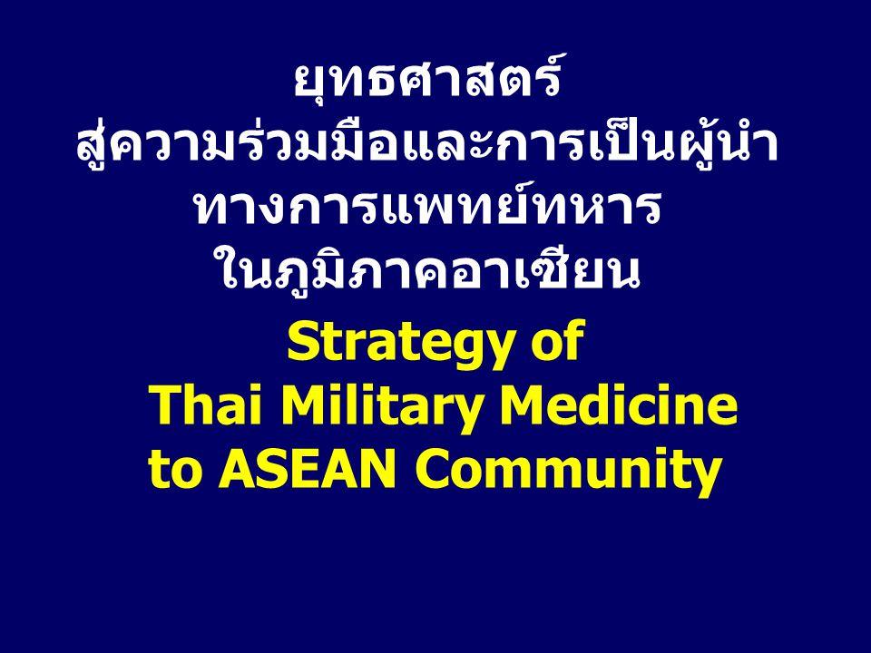 ยุทธศาสตร์ สู่ความร่วมมือและการเป็นผู้นำ ทางการแพทย์ทหาร ในภูมิภาคอาเซียน Strategy of Thai Military Medicine to ASEAN Community