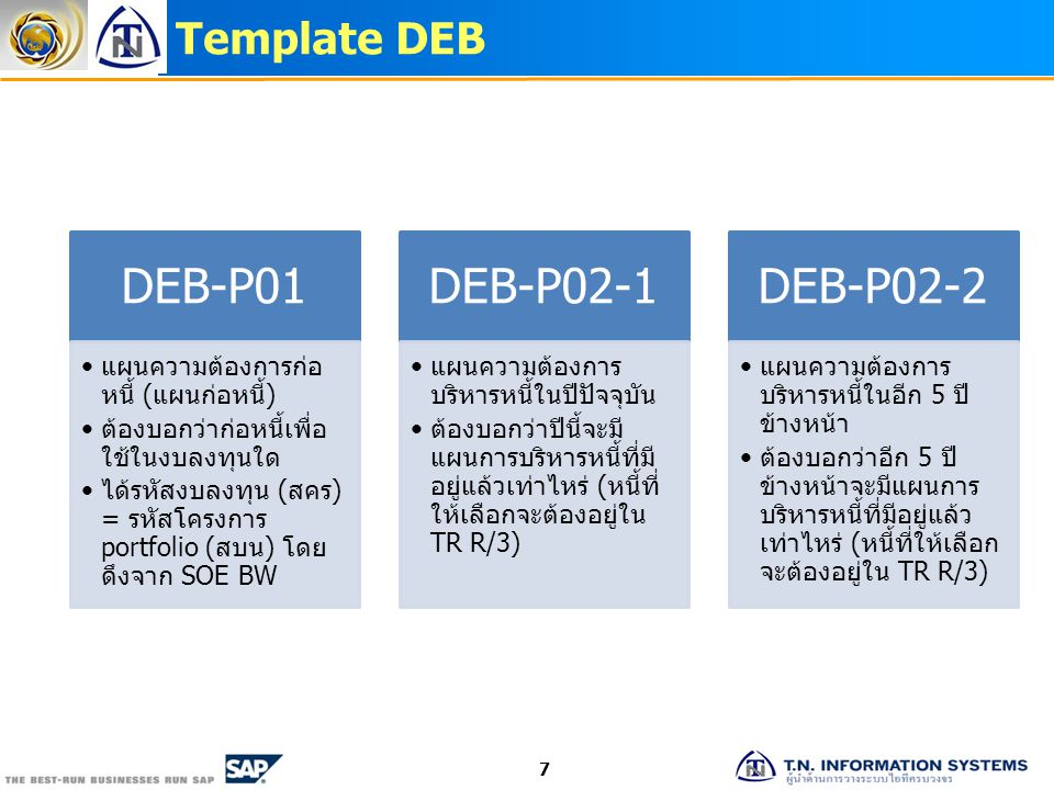 Template DEB 7 DEB-P01 แผนความต้องการก่อ หนี้ (แผนก่อหนี้) ต้องบอกว่าก่อหนี้ เพื่อใช้ในงบลงทุนใด ได้รหัสงบลงทุน (สคร) = รหัส โครงการ portfolio (สบน) โ