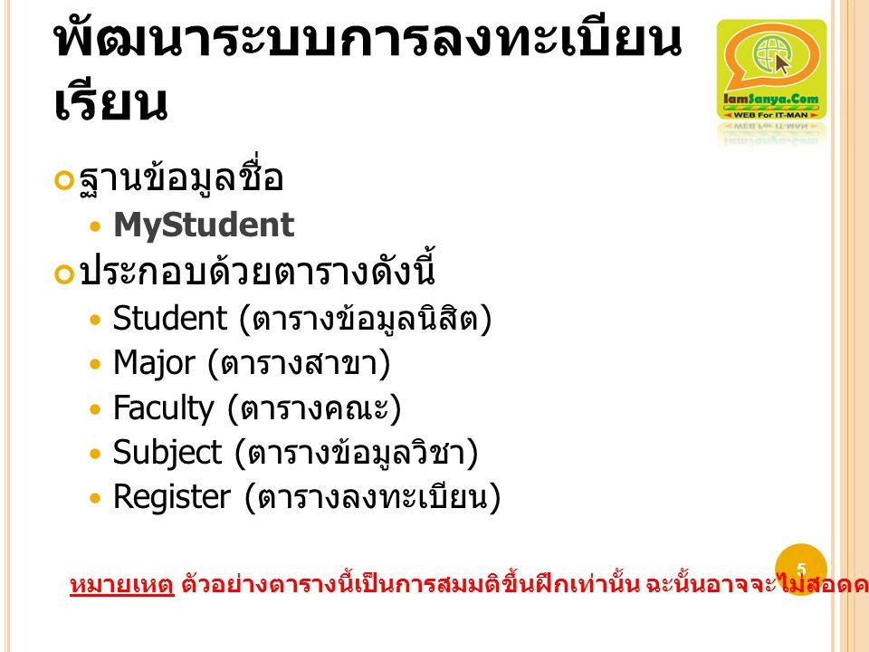 พัฒนาระบบการลงทะเบียน เรียน ฐานข้อมูลชื่อ MyStudent ประกอบด้วยตารางดังนี้ Student ( ตารางข้อมูลนิสิต ) Major ( ตารางสาขา ) Faculty ( ตารางคณะ ) Subjec
