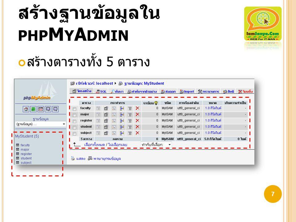 สร้างฐานข้อมูลใน PHP M Y A DMIN สร้างตารางทั้ง 5 ตาราง 7