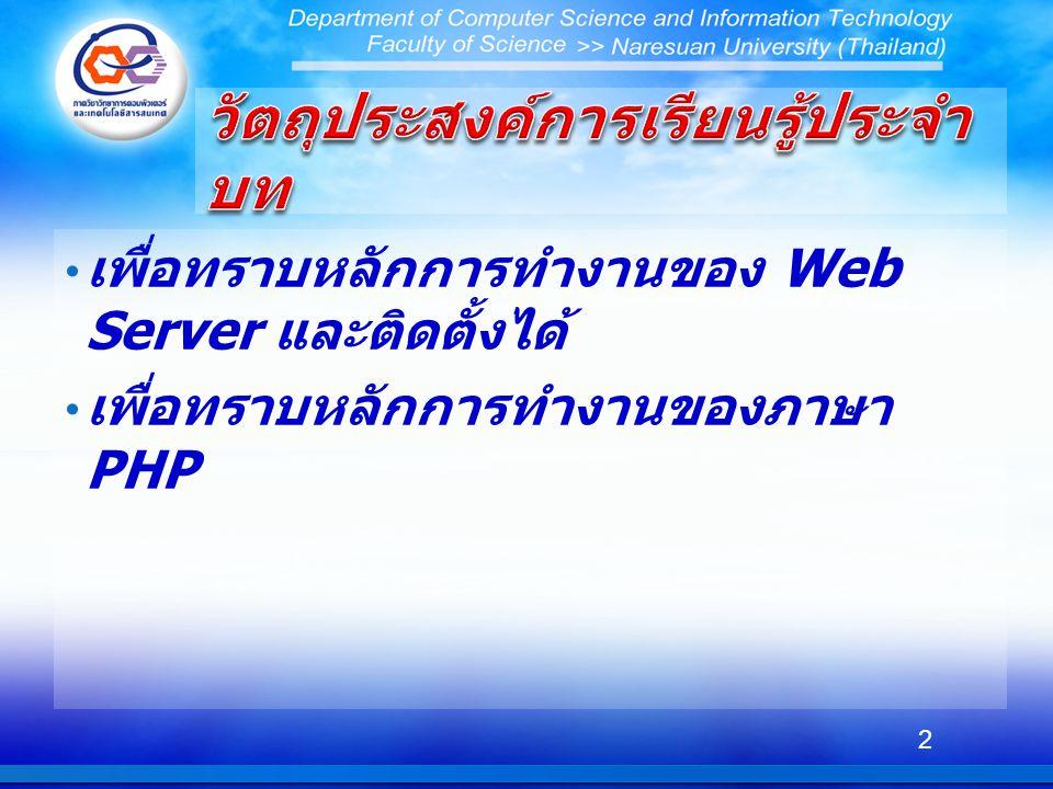 PHP คือภาษาโปรแกรมที่ทำงานทางฝั่งเซิร์ฟเวอร์ โดยโค้ด PHP ที่เราเขียนจะถูกประมวลผลไปจน หมดที่ฝั่งเซิร์ฟเวอร์ แล้วให้ผลลัพธ์ออกมาเป็น ข้อความธรรมดาและแท็กในภาษา HTML ภาษา PHP ใช้สร้าง Dynamic Web Page หมายถึงเว็บเพจที่มีเนื้อหาไม่คงที่ตายตัว แต่อาจ เปลี่ยนแปลงไปได้ในแต่ละครั้งที่ผู้ใช้เรียกดู ซึ่งถ้า เว็บเพจเหล่านี้ถูกออกแบบมาเพื่อให้ทำงานอย่างใด อย่างหนึ่ง เราก็จะเรียกมันว่า เว็บแอพพลิเคชั่น (Web Application) แท็กของ PHP จะเริ่มต้นด้วย โดยในเพจหนึ่งๆอาจมีการเปิดและปิดแท็กของ PHP มากกว่า 1 ครั้ง คำสั่งต่างๆที่อยู่ภายในแท็กนี้ จะถูก PHP Interpreter ประมวลผล แต่คำสั่งที่อยู่ ภายนอกแท็กนี้จะถูกส่งผ่าน (pass through) ไป ยังเว็บบราวเซอร์ 23