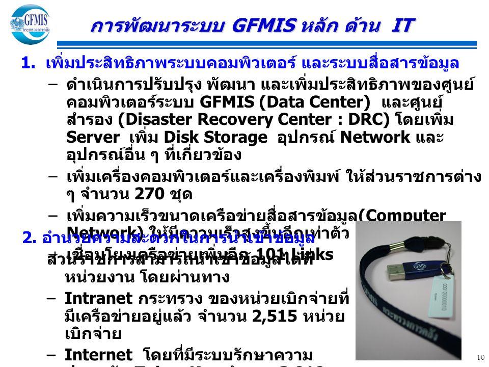 10 1. เพิ่มประสิทธิภาพระบบคอมพิวเตอร์ และระบบสื่อสารข้อมูล – ดำเนินการปรับปรุง พัฒนา และเพิ่มประสิทธิภาพของศูนย์ คอมพิวเตอร์ระบบ GFMIS (Data Center) แ