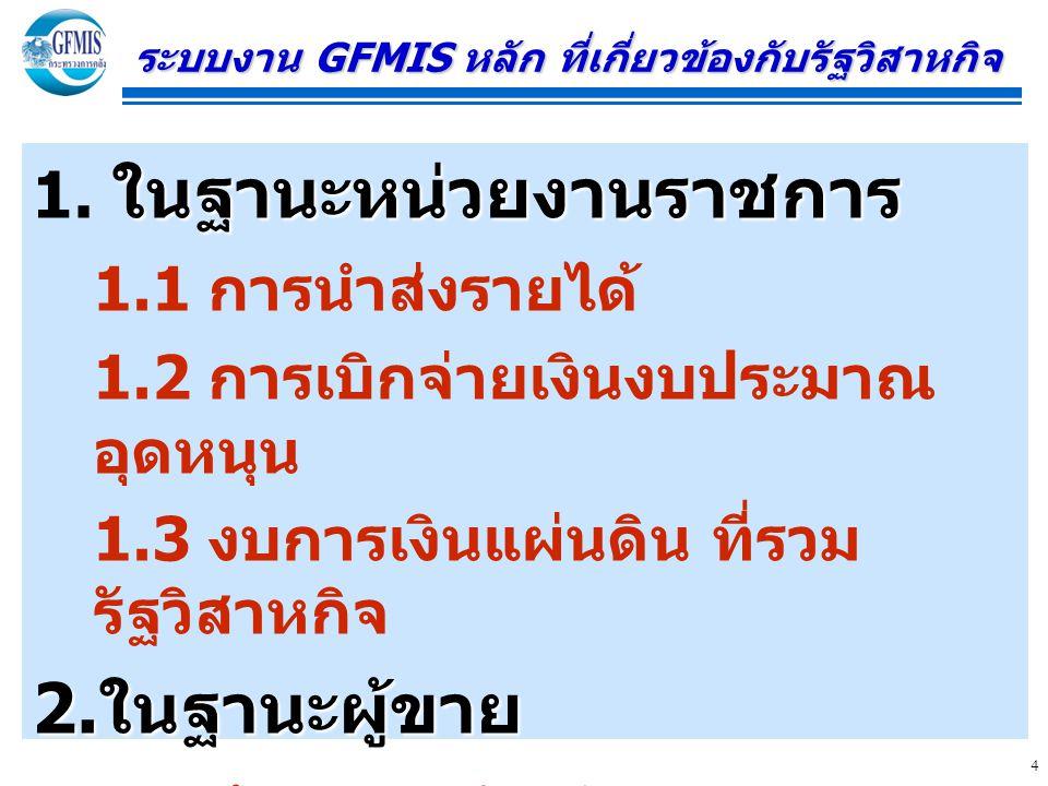 4 ระบบงาน GFMIS หลัก ที่เกี่ยวข้องกับรัฐวิสาหกิจ ในฐานะหน่วยงานราชการ 1. ในฐานะหน่วยงานราชการ 1.1 การนำส่งรายได้ 1.2 การเบิกจ่ายเงินงบประมาณ อุดหนุน 1
