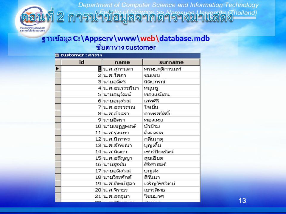 ฐานข้อมูล C:\Appserv\www\web\database.mdb ชื่อตาราง customer 13