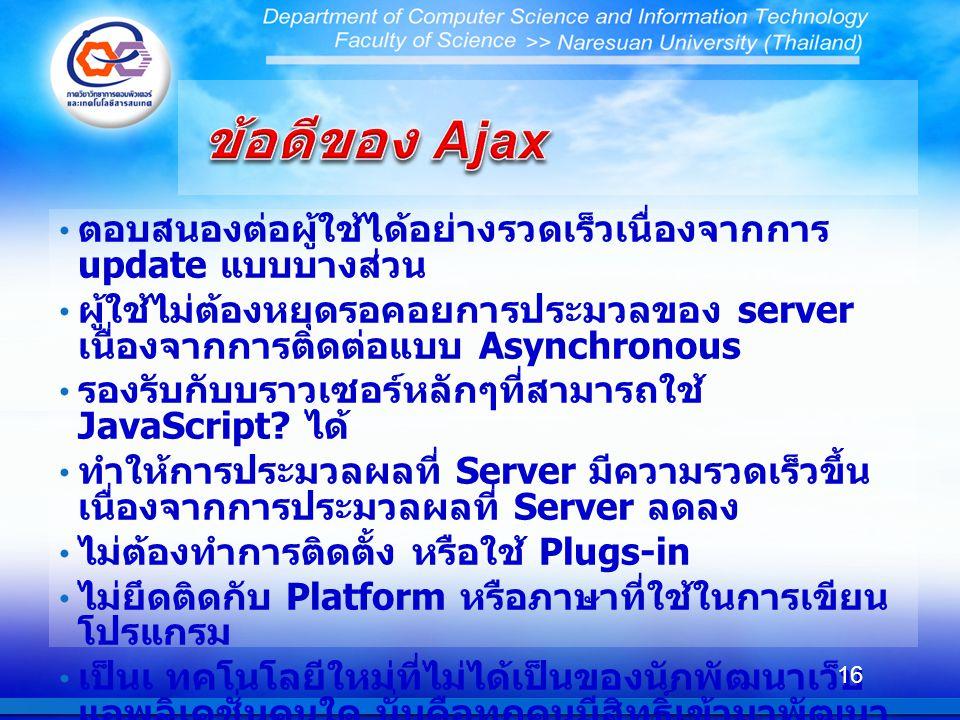 ตอบสนองต่อผู้ใช้ได้อย่างรวดเร็วเนื่องจากการ update แบบบางส่วน ผู้ใช้ไม่ต้องหยุดรอคอยการประมวลของ server เนื่องจากการติดต่อแบบ Asynchronous รองรับกับบราวเซอร์หลักๆที่สามารถใช้ JavaScript.