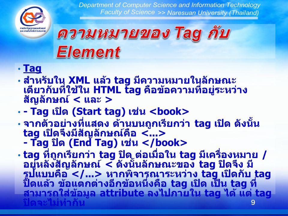 Tag สำหรับใน XML แล้ว tag มีความหมายในลักษณะ เดียวกับที่ใช้ใน HTML tag คือข้อความที่อยู่ระหว่าง สัญลักษณ์ - Tag เปิด (Start tag) เช่น จากตัวอย่างที่แสดง ด้านบนถูกเรียกว่า tag เปิด ดังนั้น tag เปิดจึงมีสัญลักษณ์คือ - Tag ปิด (End Tag) เช่น tag ที่ถูกเรียกว่า tag ปิด ต่อเมื่อใน tag มีเครื่องหมาย / อยู่หลังสัญลักษณ์ หากพิจารณาระหว่าง tag เปิดกับ tag ปิดแล้ว ข้อแตกต่างอีกข้อหนึ่งคือ tag เปิด เป็น tag ที่ สามารถใส่ข้อมูล attribute ลงไปภายใน tag ได้ แต่ tag ปิดจะไม่ทำกัน 9