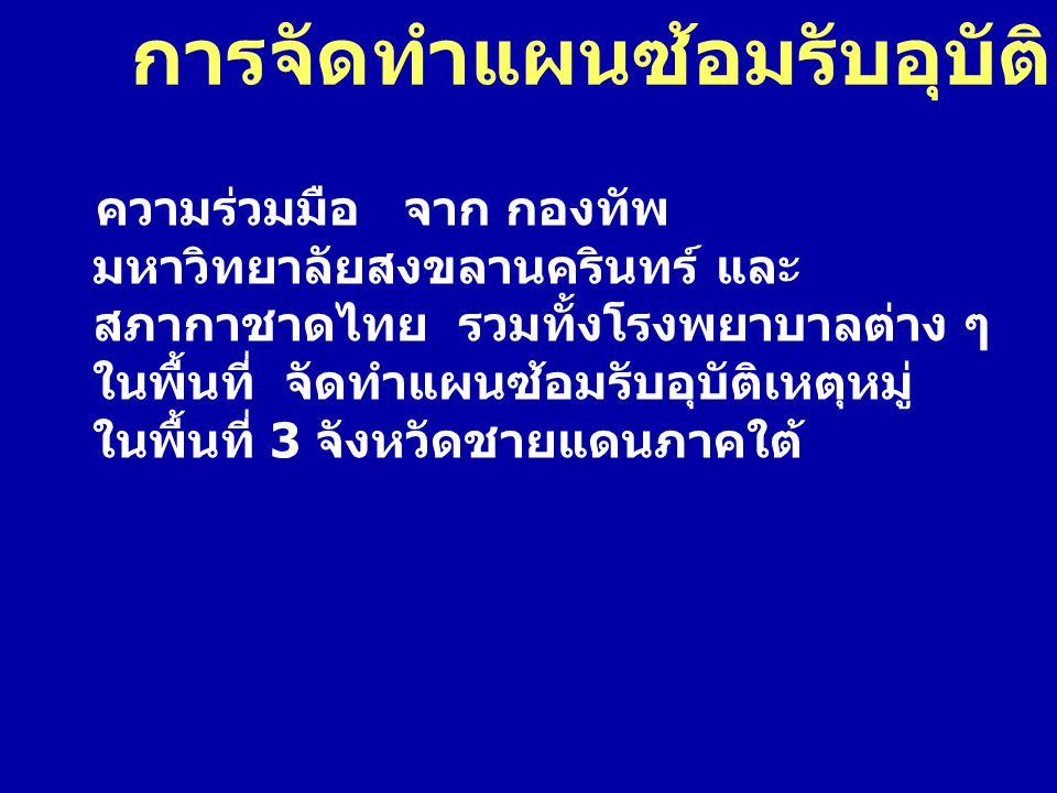 การจัดทำแผนซ้อมรับอุบัติเหตุหมู่ ความร่วมมือ จาก กองทัพ มหาวิทยาลัยสงขลานครินทร์ และ สภากาชาดไทย รวมทั้งโรงพยาบาลต่าง ๆ ในพื้นที่ จัดทำแผนซ้อมรับอุบัต