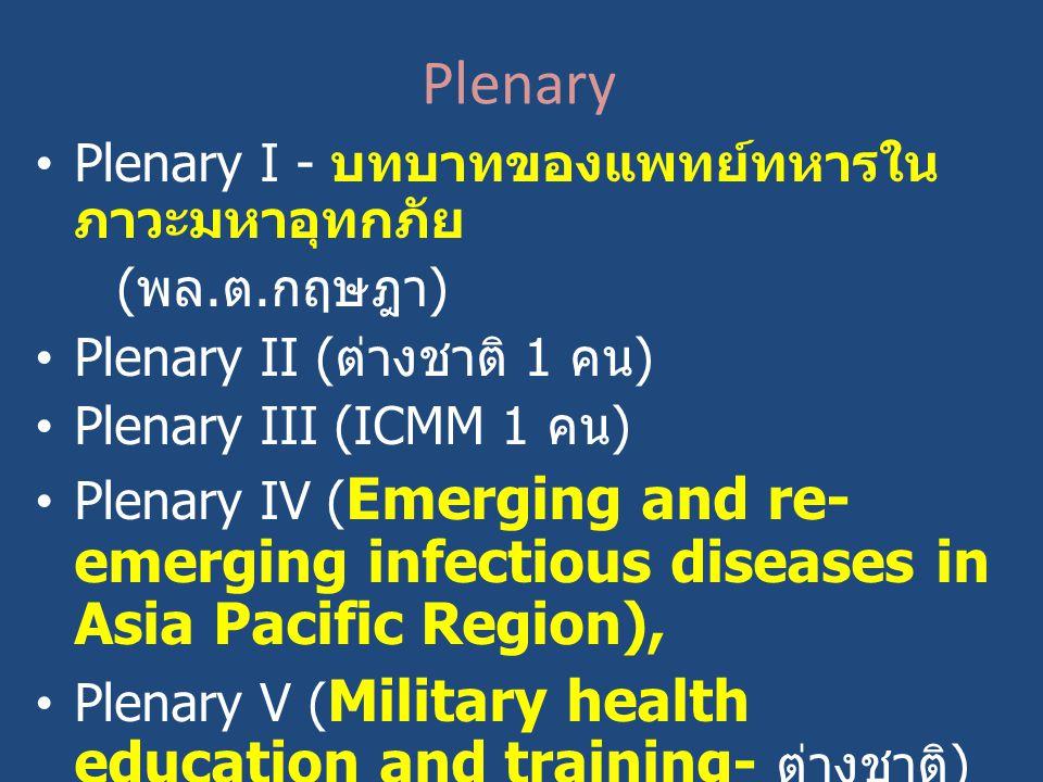 Plenary Plenary I - บทบาทของแพทย์ทหารใน ภาวะมหาอุทกภัย ( พล. ต. กฤษฎา ) Plenary II ( ต่างชาติ 1 คน ) Plenary III (ICMM 1 คน ) Plenary IV ( Emerging an