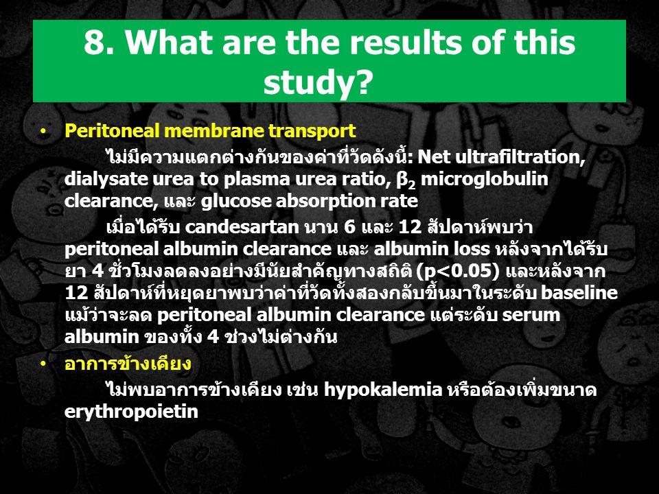 Peritoneal membrane transport ไม่มีความแตกต่างกันของค่าที่วัดดังนี้: Net ultrafiltration, dialysate urea to plasma urea ratio, β 2 microglobulin clearance, และ glucose absorption rate เมื่อได้รับ candesartan นาน 6 และ 12 สัปดาห์พบว่า peritoneal albumin clearance และ albumin loss หลังจากได้รับ ยา 4 ชั่วโมงลดลงอย่างมีนัยสำคัญทางสถิติ (p<0.05) และหลังจาก 12 สัปดาห์ที่หยุดยาพบว่าค่าที่วัดทั้งสองกลับขึ้นมาในระดับ baseline แม้ว่าจะลด peritoneal albumin clearance แต่ระดับ serum albumin ของทั้ง 4 ช่วงไม่ต่างกัน อาการข้างเคียง ไม่พบอาการข้างเคียง เช่น hypokalemia หรือต้องเพิ่มขนาด erythropoietin 8.