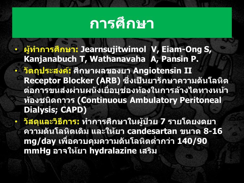 ผู้ทำการศึกษา: Jearnsujitwimol V, Eiam-Ong S, Kanjanabuch T, Wathanavaha A, Pansin P.